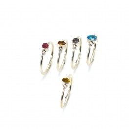 WHOLESALE 5PC 925 SOLID STERLING SILVER CUT YELLOW CITRINE MIX RING LOT