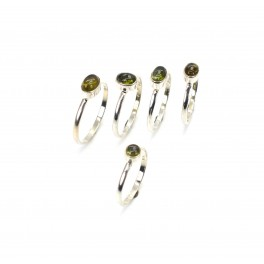 WHOLESALE 5PC 925 SOLID STERLING SILVER GREEN TOURMALINE RING LOT