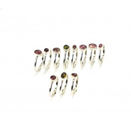 WHOLESALE 11PC 925 SOLID STERLING SILVER GREEN TOURMALINE MIX STONE RING LOT