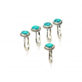 WHOLESALE 5PC 925 SOLID STERLING SILVER BLUE TURQUOISE RING LOT