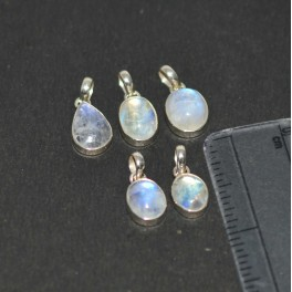 WHOLESALE 5PC 925 SOLID STERLING SILVER WHITE RAINBOW MOONSTONE PENDANT LOT