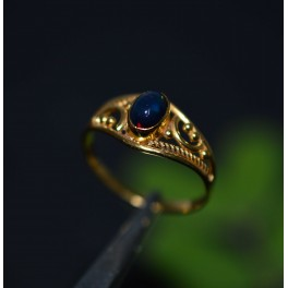 925 SOLID STERLING SILVER 24CT GOLD OVERLAY BLACK ETHIOPIAN OPAL RING -9 US