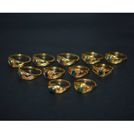 WHOLESALE 11PC 925 SILVER 24CT GOLD OVERLAY BLACK ETHIOPIAN OPAL RING LOT