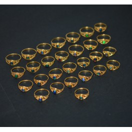 WHOLESALE 28PC 925 SILVER 24CT GOLD OVERLAY BLACK ETHIOPIAN OPAL RING LOT