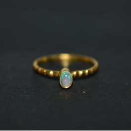 925 SOLID STERLING SILVER 24CT GOLD OVERLAY ETHIOPIAN OPAL RING -7 US