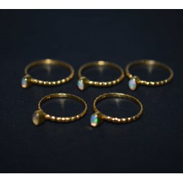 WHOLESALE 5PC 925 STERLING SILVER 24CT GOLD OVERLAY ETHIOPIAN OPAL RING LOT