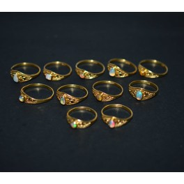 WHOLESALE 11PC 925 STERLING SILVER 24CT GOLD OVERLAY ETHIOPIAN OPAL RING LOT
