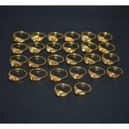 WHOLESALE 26PC 925 STERLING SILVER 24CT GOLD OVERLAY ETHIOPIAN OPAL RING LOT