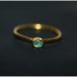 925 SOLID STERLING SILVER 24CT GOLD OVERLAY ETHIOPIAN OPAL RING -9 US