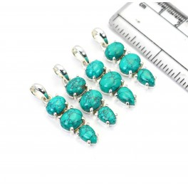 WHOLESALE 4PC 925 SOLID STERLING SILVER BLUE TURQUOISE PENDANT LOT