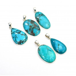 WHOLESALE 5PC 925 SOLID STERLING SILVER BLUE TURQUOISE PENDANT LOT