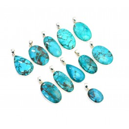 WHOLESALE 11PC 925 SOLID STERLING SILVER BLUE TURQUOISE PENDANT LOT