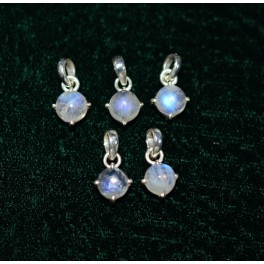 WHOLESALE 5PC 925 SOLID STERLING SILVER WHITE RAINBOW MOONSTONE PENDANTLOT