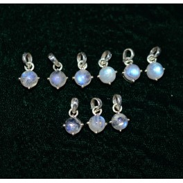 WHOLESALE 9PC 925 SOLID STERLING SILVER WHITE RAINBOW MOONSTONE PENDANTLOT