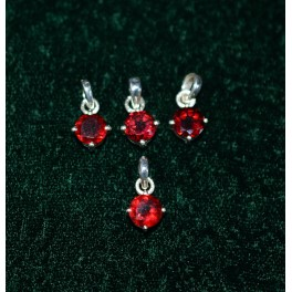 WHOLESALE 4PC 925 SOLID STERLING SILVER CUT RED GARNET PENDANT LOT