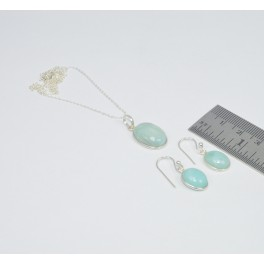 925 SOLID STERLING SILVER BLUE LARIMAR CHAIN PENDANT-EARRING SET