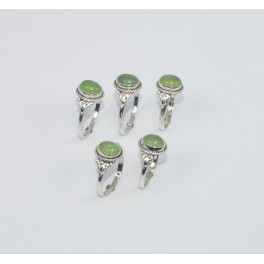 WHOLESALE 5PC 925 SOLID STERLING SILVER GREEN JADE RING LOT GTC289