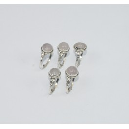 WHOLESALE 5PC 925 SOLID STERLING SILVER PINK ROSE QUARTZ RING LOT GTC300