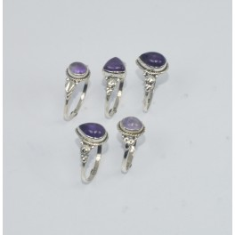 WHOLESALE 5PC 925 SOLID STERLING SILVER PURPLE AMETHYST RING LOT GTC308