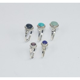 WHOLESALE 5PC925 SOLID STERLING SILVER LAPIS LAZULI ANDMIX STONE RING LOT