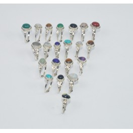 WHOLESALE 21PC 925 SOLID STERLING SILVER TIGER EYE AND MIX STONE RING LOT