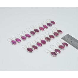 WHOLESALE 11PC 925 SOLID STERLING SILVER FACETED RED RUBY HOOK EARRING LOT