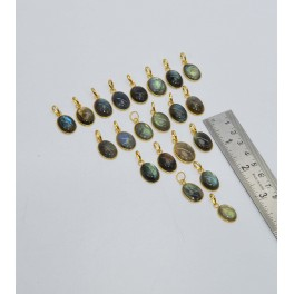 WHOLESALE 21PC 925 SOLID STERLING 24CT GOLD OVERLAY LABRADORITE PENDANT LOT