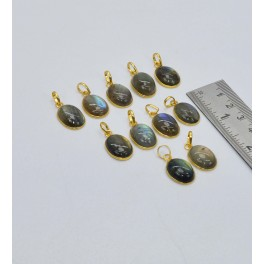 WHOLESALE 11PC 925 SOLID STERLING 24CT GOLD OVERLAY LABRADORITE PENDANT LOT