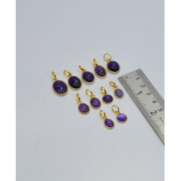 WHOLESALE 11PC 925 SOLID STERLING 24CT GOLD OVERLAY AMETHYST PENDANT LOT
