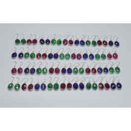 WHOLESALE 36PR 925 SOLID STERLING SILVER EMERALD RUBY SAPPHIRE EARRING LOT