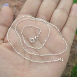 925 SOLID STERLING SILVER PLAIN CHAIN NECKLACE- 18 INCH