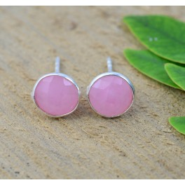 925 SOLID STERLING SILVER FACETED PINK ROSE QUARTZ STUD EARRING