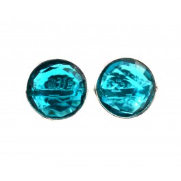 925 SOLID STERLING SILVER FACETED TEAL BLUE QUARTZ STUD EARRING