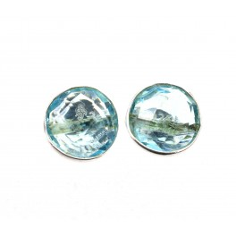 925 SOLID STERLING SILVER FACETED BLUE QUARTZ STUD EARRING