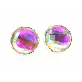 925 SOLID STERLING SILVER FACETED RAINBOW MYSTIC QUARTZ STUD EARRING