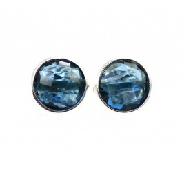 925 SOLID STERLING SILVER FACETED BLUE IOLITE QUARTZ STUD EARRING