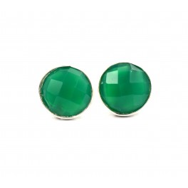 925 SOLID STERLING SILVER FACETED GREEN ONYX STUD EARRING