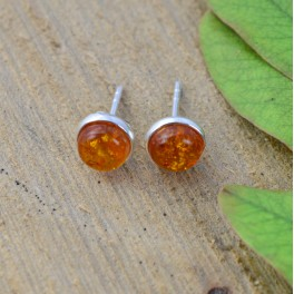 925 SOLID STERLING SILVER YELLOW AMBER STUD EARRING