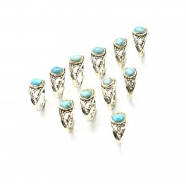 WHOLESALE 11PC 925 SOLID STERLING SILVER BLUE LARIMAR RING LOT