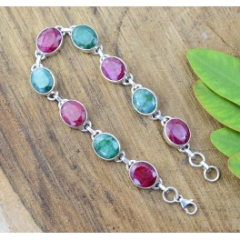 925 SOLID STERLING SILVER CUT RED RUBY GREEN EMERALD BRACELET -7.8 INCH
