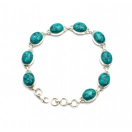 925 SOLID STERLING SILVER BLUE TURQUOISE BRACELET -8 INCH