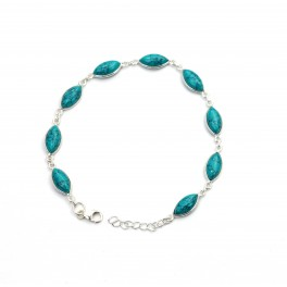 925 SOLID STERLING SILVER BLUE TURQUOISE BRACELET - 8.7 INCH