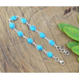 925 SOLID STERLING SILVER BLUE TURQUOISE BRACELET - 8.3 INCH