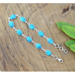 925 SOLID STERLING SILVER BLUE TURQUOISE BRACELET -8.5 INCH
