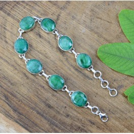 925 SOLID STERLING SILVER FACETED GREEN EMERALD BRACELET -  8 INCH
