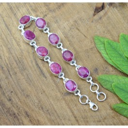 925 SOLID STERLING SILVER FACETED RED RUBY BRACELET -8 INCH
