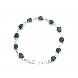 925 SOLID STERLING SILVER FACETED GREEN EMERALD BRACELET -8 INCH