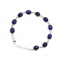 925 SOLID STERLING SILVER BLUE LAPIS LAZULI BRACELET - 8.7 INCH
