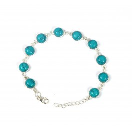 925 SOLID STERLING SILVER BLUE TURQUOISE BRACELET - 8 INCH