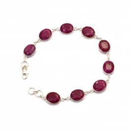 925 SOLID STERLING SILVER FACETED RED RUBY BRACELET- 8 INCH
